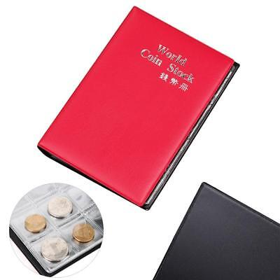 120 Slots Coin Penny Collecting Holder Pockets Storage Folder Album Book Red AC