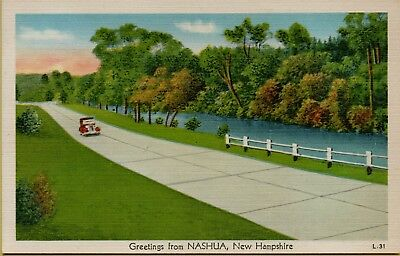 Landscape Street View Greetings From Nashua NH Postcard D23