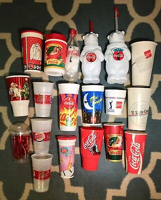 Coca Cola Lot of Cups Coke Plastic Wax Paper Polar Bears, Santa, Vintage