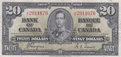 1937 Bank of Canada $20 Bill Coyne Towers JE 2911676 Ungraded
