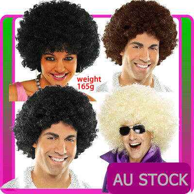 W536 Auburn Hippie Afro Curly Wig Hippy 1960s 1970s Disco Costume Middle Parting
