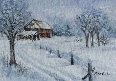 ACEO Original Watercolor painting Landscape winter  by Anne
