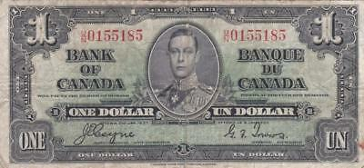 1937 Bank of Canada $1 Bill Coyne Towers  UN 0155185 Ungraded