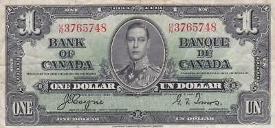 1937 Bank of Canada $1 Bill Coyne Towers UN 3765748 Ungraded