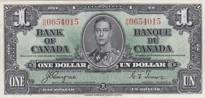 1937 Bank of Canada $1 Bill Coyne Towers ON 0654015 Ungraded