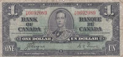 1937 Bank of Canada $1 Bill Coyne Towers YM 0692089 Ungraded