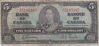 1937 Bank of Canada $5 Bill Gordon Towers XC 5105397Ungraded