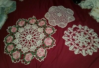 Lot Of 3 Vintage Crocheted Doilies Pink And White
