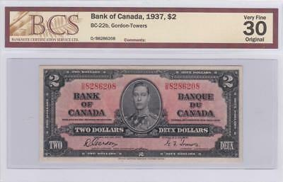 1937 Bank of Canada $2 Bill Gordon Towers BCS Graded VF 30 Original  DB 8286208