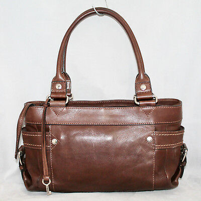 a96e3603b4b FOSSIL ZB2132 Castille Brown Leather Satchel Buckles End Pockets Zip Top