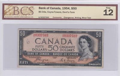 1954 Bank of Canada $50 Devil Face Bill Coyne Towers BCS Graded F 12 AH 0337593