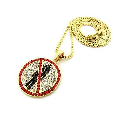 """Hip Hop Iced Out Travis Scott Rodeo Pendant & 2mm 24"""" Box Chain Necklace"""