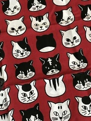 Tenugui  CAT FACE  Japan Towel Traditional Kitchen Thin  Cotton Brand New RED