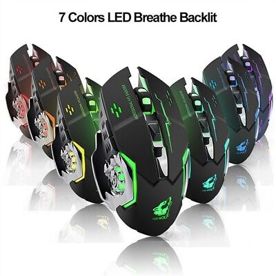 2.4GHz LED Rechargeable Wireless Gaming Mouse 1800DPI USB Optical Gamer Player