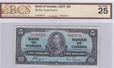 1937 Bank of Canada $5 Bill Coyne Towers BCS Graded VF 25 XC 6485711