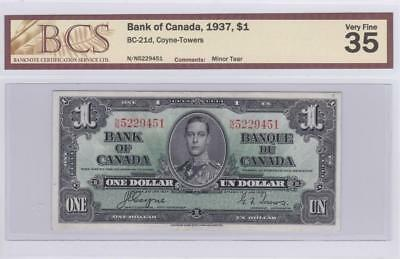 1937 Bank of Canada $1 Bill Coyne Towers BCS Graded VF 35 NN 5229451