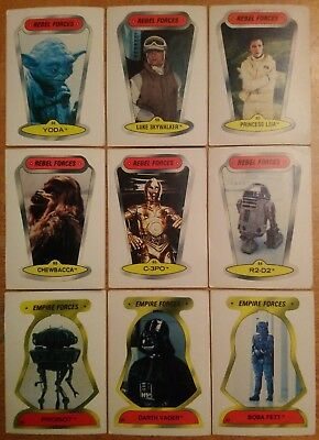 Vintage O Pee Chee Lot 9 Star Wars Stickers Yoda Vader Leia Fett Chewbacca + Opc