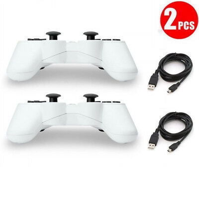2 lot New Wireless Bluetooth Game Controllers For PS3 Replacement Charging Cable