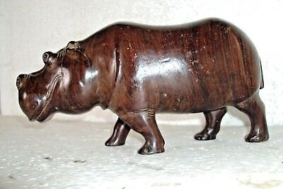 Rare Vintage Wooden Hippopotamus Beautifully Carved Figure Statue