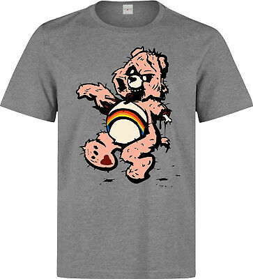Zombie Care Bear Artwork Bloody Scary Men's (woman's available) grey t shirt