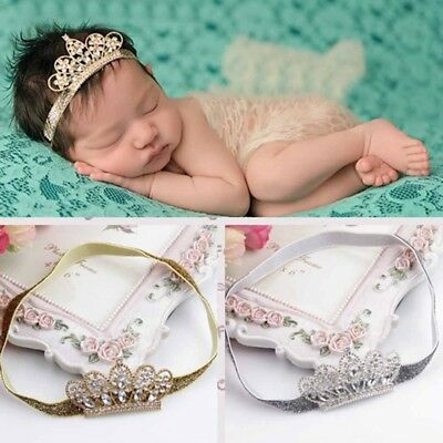 Baby Kids Girls Princess Tiara Pearl Crystal Crown Headband Hair Band Headwear