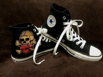 Converse Sailor Jerry Death or Glory Skull Tattoo High Tops Sneakers Size 8 10