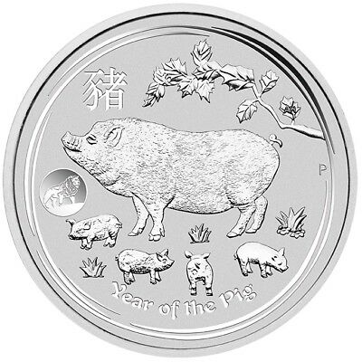2019 Year of the Pig w/ LION PRIVY 1oz .9999 Silver Coin - Lunar Series II - PM