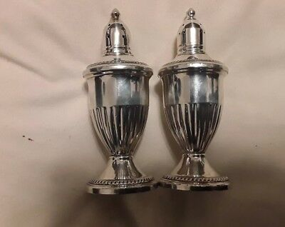 Vintage Weighted Sterling Silver Salt & Pepper Shakers Glass Lined