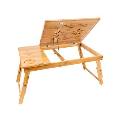 Bamboo Folding Laptop Computer PC Table Desk Bed Tray Stand adjustable height