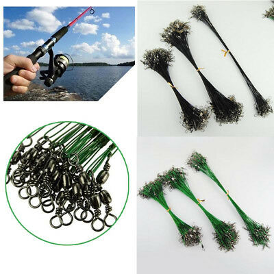 20PCS Swivel Stainless Steel Rope Wire Anti-bite Fishing Lead Line Fly Leash