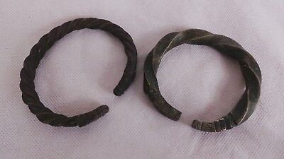 Two Vintage Manilla - African Currency Bracelets