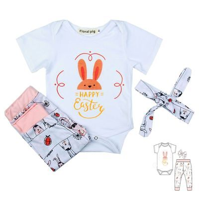 Girls Newborn Happy Easter Bunny Ears Baby Outfits Set Romper+Pants+Headband