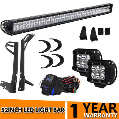 """52Inch Straight LED Light Bar+2pcs 4"""" CREE Pods Offroad Fit SUV ATV Ford Jeep JK"""