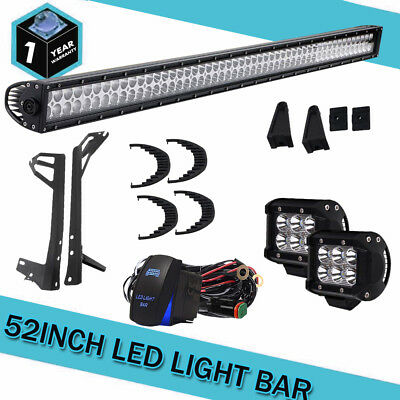 """CREE 52Inch LED Combo Light Bar+2x 4"""" Fog CREE PODS OFFROAD For SUV 4WD ATV Jeep"""