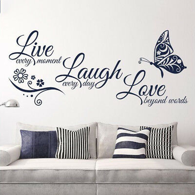 1 x Butterfly Glass Accessories Decal Adhesive Live Laugh Love Wall Stickers PVC