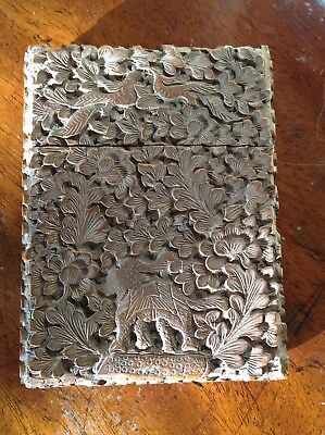 An Antique Chinese Carved Wooden Card Case c1880