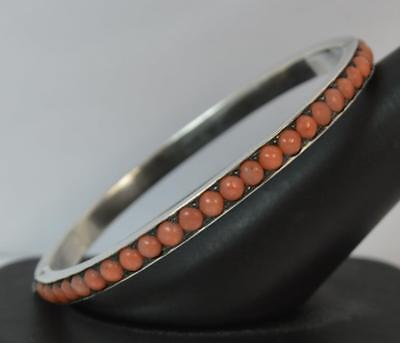Victorian Solid Silver and Coral Full Eternity Bangle Bracelet