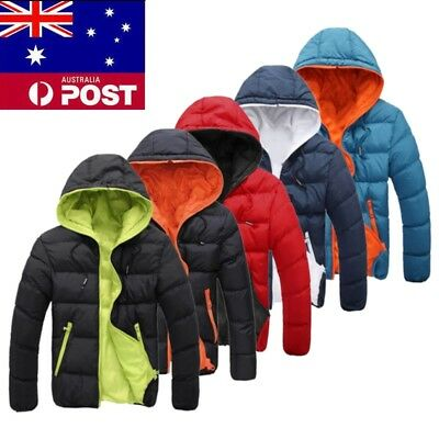 Men Winter Warm Duck Down Jacket Ski Snow Thick Hooded Cycling Puffer Coat Parka