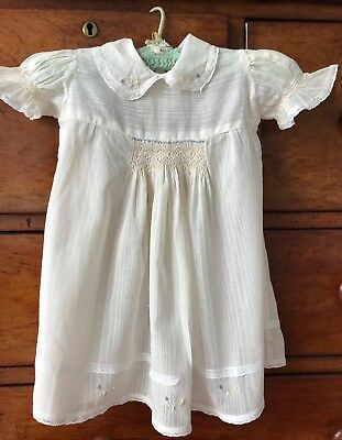 Vintage Cream Dimity Baby Toddler Dress, Hand-Embroidery, Smocking, Lace