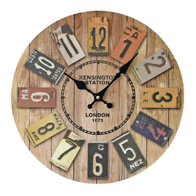 Vintage Style Non-Ticking  Antique Wood Wall Clock Home Decor Weddings Wall MEH