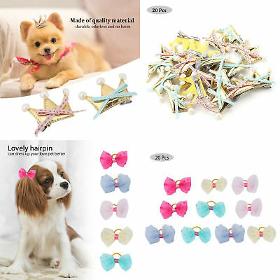 20pcs Dog Hairpins Pet Bow Hair Rubber Bands Clips Puppy Cat Grooming Bowknot