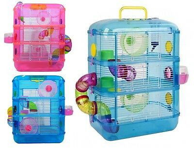 Hamster Cage / 3 Story With Tubes / Gerbil Cage / Pet World - 2 COLOURS #Z2