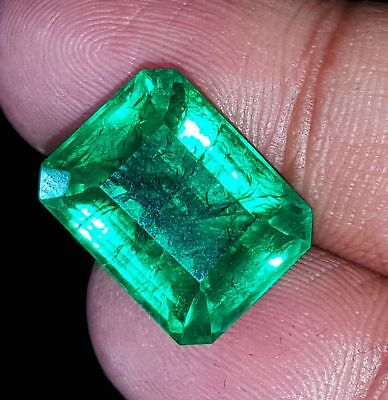 12.80 Ct Natural Green Colombian Emerald Loose Gemstone CERTIFIED