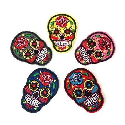 Mexican Sugar Skull Day Of The Dead Applique Iron On Embroidered Patch Badge