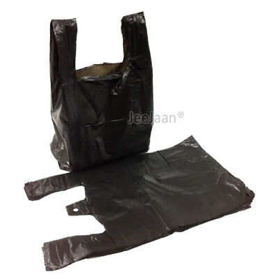 "500 BLACK PLASTIC VEST CARRIER BAGS 8""x13""x18"" SMALL T STYLE BOTTLE BAG *OFFER*"