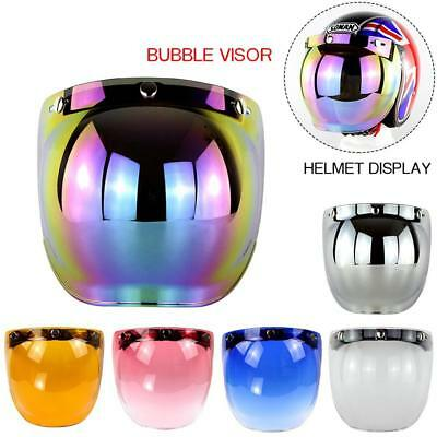3 Button Bubble Flip Up PC Visor Shield Wind Len for Open Face Motorcycle Helmet