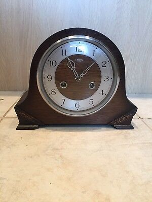 Vintage 1940's SMITHS ENFIELD STRIKING WOODEN MANTLE CLOCK BRASS MECHANISM CHIME
