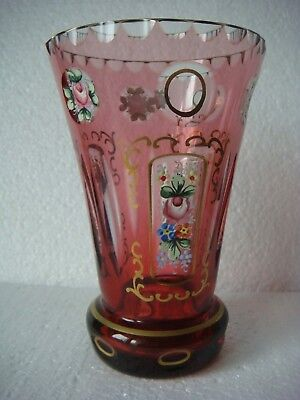 RRR RARE Antique  CRYSTAL-GLASS VASE FLOWER Hand Made-Hand Painted
