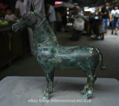 """14"""" Antiquity Chinese Bronze Ware Dynasty Palace Tang Horse Steed Sculpture"""