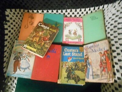 Vintage Lot 9 mostly Classic Books, Custer's Last Stand, Captain Medici, Heidi,